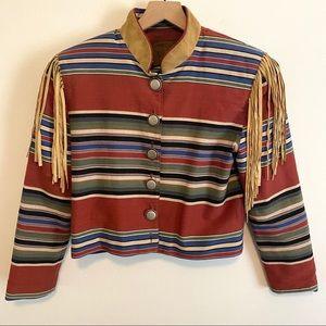 Double D Ranch Striped Suede Fringe Western Jacket